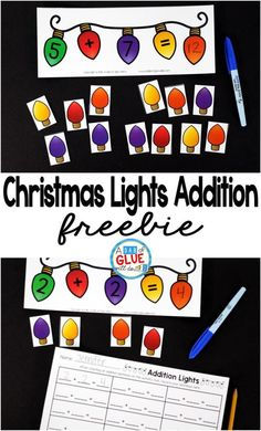 Christmas Lights Addition is the perfect addition to your math center. This free printable is perfect for kindergarten and first grade students. by matilda The Effective Pictures We Offer You About Mo Centers First Grade, 1st Grade Math, Math Centers, Second Grade, Grade 1, Christmas Math, Preschool Christmas, Christmas Lights, Christmas Activities