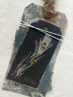 Stempelwunderwelt: Tag with Indigo Blu Megaflakes, Hampton Art, Distress Ink