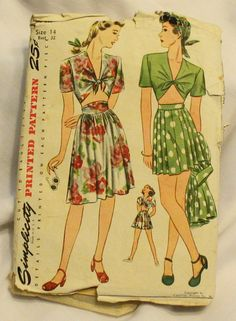 Simplicity 1020 Vintage 1940s Beach Suit Swim Top Shorts Skirt Sewing Pattern Size 14 Bust 32