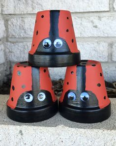 Ladybug decor painted pots ladybug pot ladybug by FunWithWreaths