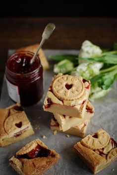 White chocolate blondies featuring the king of biscuits, the Jammy Dodger.