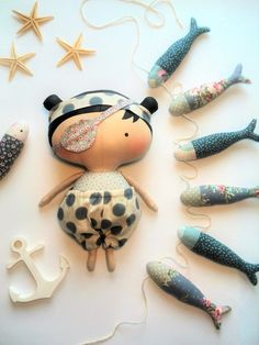 Tilda doll pirates Fish Girl toys Gift child by HandmadeToyStore