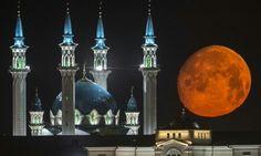 Lua cheia em Kazan, na Rússia