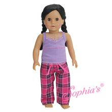 Lavender Tank & Plaid PJ Bottoms Fits 18 Inch American Girl Dolls Clothes