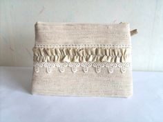Bridesmaid clutch, linen and lace clutch, bridal clutch, shabby chic purse