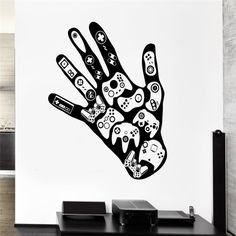 Cheap wall decals, Buy Quality decoration murale directly from China home decor Suppliers: Art Removable Gamer Hand Wall Decal Video Game Play Room Boys Vinyl Stickers Art Home Decor Mural Children BoysRoom Decal Wall Stickers Gaming, Gaming Wall Art, Vinyl Wall Stickers, Vinyl Art, Room Stickers, Game Poster, Back The Blue Decal, Mural Wall Art, Wall Paintings