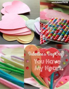 Make a lovely bouquet of hearts with your little one. Fill your room with love and laugh. It can be a perfect bouquet for the mom or teacher, or your child can make one for each friend.     Materials you will need: Chenille stems Construction Paper Beads Glue Scissors  For each flower you will need: Two hearts + one stem +