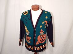 Vintage Halloween Cardigan Knit Sweater Large L Teddy Bear and Cats and Jack…