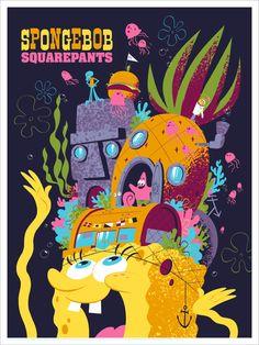 SpongeBob SquarePants Poster by Drake Brodahl from Mondo (Onsale Info) Spongebob Friends, New Spongebob, Cartoon Posters, Disney Posters, Cartoons, Live Action, Tom Whalen, Spongebob Squarepants, Cartoon Wallpaper