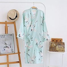 61f7bd6122 Summer Autumn Cotton Robes Double Gauze Kimono Nightgown Simple Nature  Crane Thin Section Loose Large Size Home Bathrobe