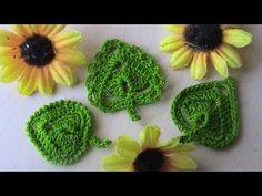 Tres estilos de hojas en crochet, el mismo centro solo con diferente contorno, ideales para las aplicaciones les dejo el paso a paso.