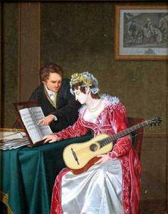De muziekles (1825) Jan Lodewijk Jonxis. Olieverf op paneel. Inventarisnummer 30210