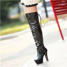 Sexy Black Platform High Heels Boots