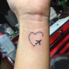 Airplane Tattoo / Wanderlust / heart
