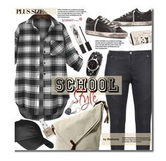 """School Style: Plaid Shirt (plus size)"" by beebeely-look ❤ liked on Polyvore featuring Golden Goose, Zizzi, Eyeko, Topshop, BackToSchool, plaid, sammydress, plussize and back2school"