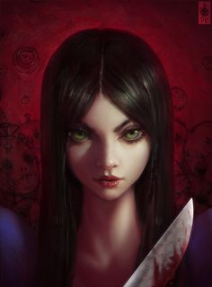 alice:_madness_returns alice_(wonderland) alice_in_wonderland american_mcgee's_alice black_hair blood close-up dress face green_eyes highres knife lips long_hair looking_at_viewer paul_kwon photorealistic realistic smile solo weapon Alice Liddell, Alice Madness Returns, Fantasy Characters, Female Characters, Dark Fantasy, Fantasy Art, 1366x768 Wallpaper, Illustration Photo, Arte Horror