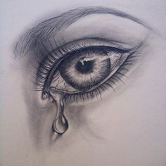 Crying Girl Eyes Drawing | photo