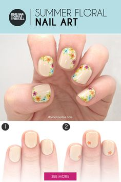 Check out this floral nail art tutorial for an easy and subtle nail look that celebrates the season. #NailArt #Nails