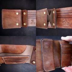 Купить Портмоне кожаное Labour 57 - коричневый, латунная фурнитура, натуральная кожа, labour, кошелек