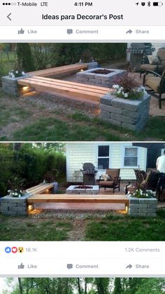 Idea for outdoor seating and fire pit! 2019 Idea for outdoor seating and fire pit! The post Idea for outdoor seating and fire pit! 2019 appeared first on Backyard Diy. Fire Pit Area, Fire Pit Backyard, Backyard Patio, Backyard Landscaping, Fire Pit Bench, Patio Bench, Backyard Seating, Diy Patio, Patio With Firepit