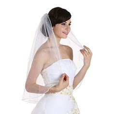"1T 1 Tier Rhinestones Crystal Sattin Rattail Edge Bridal Wedding Veil - Ivory Color Shoulder Length 25"""