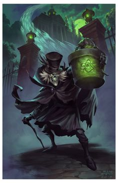 Some Fan Art of the Disneyland Haunted Mansion's Hatbox Ghost