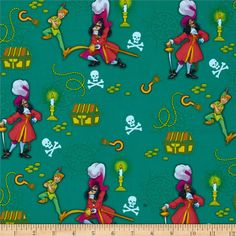 Disney Captain Hook & Peter Pan Green from @fabricdotcom  Designed by Disney and licensed to Springs Creative Products, this cotton print is perfect for quilting, apparel and home decor accents. Colors include green, yellow, red, brown, and black. Due to licensing restrictions, this item can only be shipped to USA, Puerto Rico, and Canada.