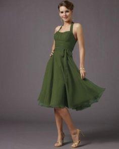 Wwow !Halter A-line Waist Sash Chiffon Bridesmaid Dress (HAD330)