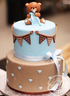 by Little Cake Torta Baby Shower, Baby Shower Deco, Baby Shower Treats, Fiesta Baby Shower, Baby Shower Cakes For Boys, Teddy Bear Baby Shower, Baby Boy Cakes, Boy Baby Shower Themes, Baby Shower Balloons