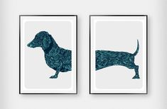 Dacshund Art Duo Rich Green. Handcrafted and printed in the UK. Beautifully illustrated with detail. Available in lots of colours and option of framing.