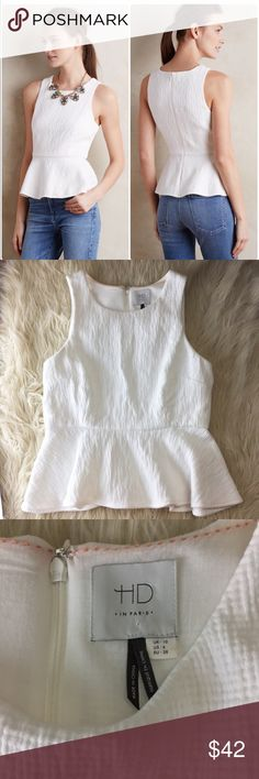 """Anthropologie peplum HD IN PARIS top White beautiful peplum tank. Worn and washed. Is in excellent condition! Zips up the back, has the most flattering shape. I received so many compliments when I wore this!!! Only selling because I need to downsize. Definitely a 5star piece! 20"""" long. 15.5"""" pit to pit. No flaws. You need this! ;) Anthropologie Tops"""