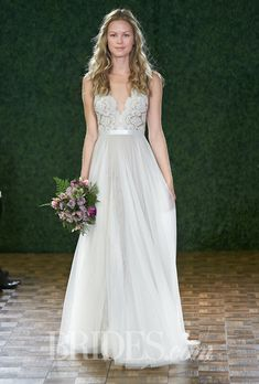 "Brides.com: Watters - Spring 2015. Style 6089B, ""Santina"" sleeveless lace A-line wedding dress with a scalloped v-neckline and soft netting skirt, Watters (Meaghan ?)"