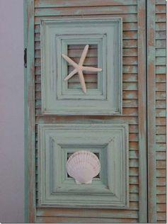 summer crafts made from refurbished old frame; riutilizzare una vecchia Cornice come decorazione casa al mare