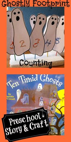Counting with footprint ghosts and the book, Ten Timid Ghosts. | from Creekside Learning