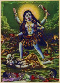 Darshan: A Gallery of Kali Ma Images Shiva Hindu, Hindu Deities, Hindu Art, Krishna, Maa Kali Images, Durga Images, Om Namah Shivaya, Kali Mandir, Raja Ravi Varma
