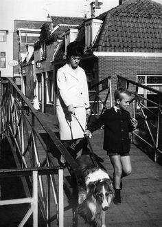 Afbeelding van een moeder, kind en hond op de Knollenbrug over de Vecht te Utrecht. 1964 Utrecht, Kind, Wrestling, Sports, Historia, Lucha Libre, Hs Sports, Sport
