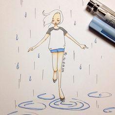 dancing in the rain | #mekaworks #drawing