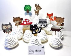 Woodland Creature Cupcake Toppers - Set of 20 Woodland Cupcake Toppers - Woodland Party Decorations - Woodland Baby Shower - Cupcake Toppers