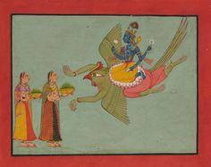 Shri Vishnu seated on Shri Garuda