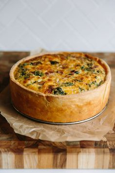 This deep-dish quiche is a hearty, flavor-packed meal in a pan. There are a few culinary tricks built into the recipe, like making a very stable cream cheese dough that — in an unusual twist — has eggs in it, and plenty of chilling and pre-baking. The result is a showy, lightly eggy, deeply satisfying meal that's worth every moment of effort.