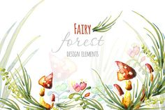 Watercolor fairy forest elements by OKSAP on @creativemarket