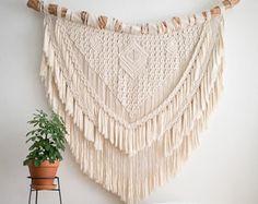 Grote Macrame Wallhanging / Macrame Wallhanging / moderne Macrame / muur tapijt / Macrame Tapestry