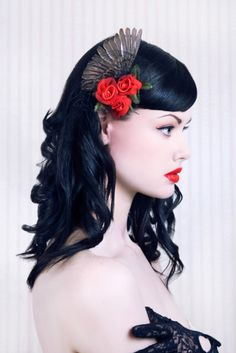 Feather and Roses Hair Piece, Alice Kelson