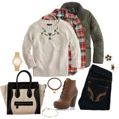 Fal Layering by kathy-andy on Polyvore featuring J.Crew, Madewell, Hollister Co., Steve Madden, CÉLINE, Kate Spade, Satya Jewelry and Orelia