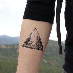Triangle Nature Scene Temporary Tattoo - Deer in the forest, pine trees, and birds in the sky! Black ink forest landscape.   SIZE - 3 wide   For just a couple bucks more, get two!  → Select '2-pack' to get two individually packaged tattoos.  → Get more for your money, by selecting '2-pa #FavoriteTemporaryTattoos