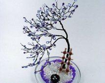 Purple Blossom Bonsai - Home Sculpture Tree Decoration / Business Card Holder Desktop - Made to order