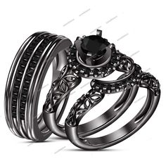 AAA Diamond T.W Round Black 14K Black Gold Matching Trio Wedding Ring Set 1.30CT