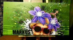 Portrait ganz individuell in Acryl mit Schwarzlichteffekt, Sternzeichen, Sternbild, Name, und Lieblingsblume
