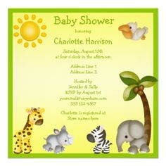 Cute Safari Animals Baby Shower Personalized Invitation
