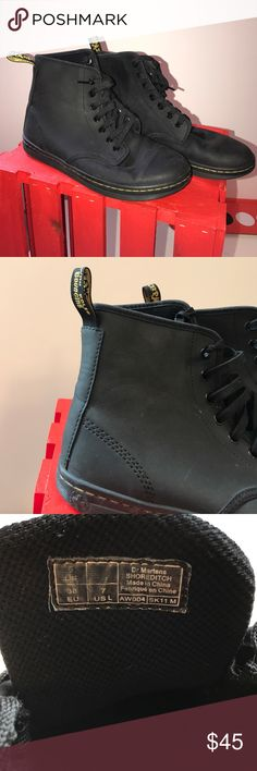 Dr. Martens Tobias 8-Eye Boot Waxy coated leather upper with tonal laces and cotton twill lining. Good condition! Dr. Martens Shoes Ankle Boots & Booties
